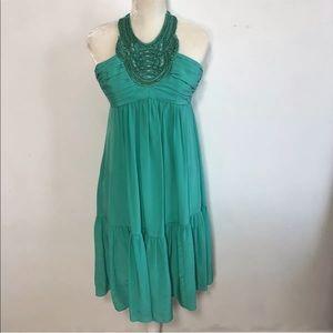Shoshanna | beaded silk halter fit flare dress